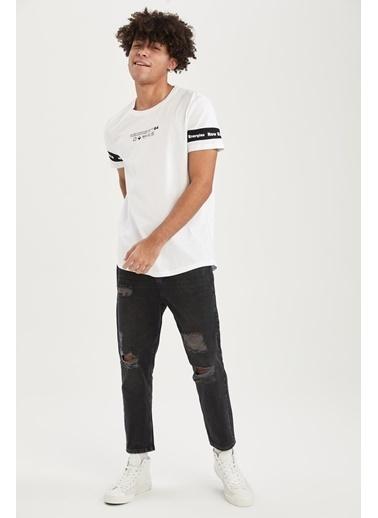 DeFacto Long Fit Bisiklet Yaka Baskılı Kısa Kollu T-shirt Beyaz
